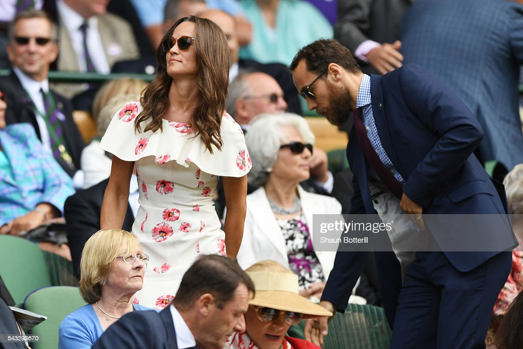 <a gi-track='captionPersonalityLinkClicked' href=/galleries/search?phrase=Pippa+Middleton&family=editorial&specificpeople=4289296 ng-click='$event.stopPropagation()'>Pippa Middleton</a> and her brother James Middleton watch on from the stands during the Men's Singles first round match between Novak Djokovic of Serbia and James Ward of Great Britain on day one of the Wimbledon Lawn Tennis Championships at the All England Lawn Tennis and Croquet Club on June 27th, 2016 in London, England.