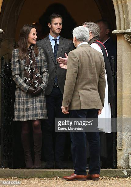 Pippa Middleton and James Matthews attend Church on Christmas Day on December 25 2016 in St Marks' Church in Englefield Berkshire