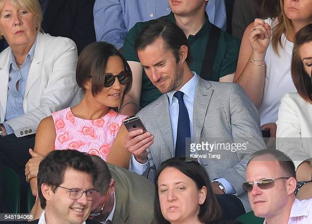 Pippa Middleton and James Matthews attend day nine of the Wimbledon Tennis Championships at Wimbledon on July 06 2016 in London England