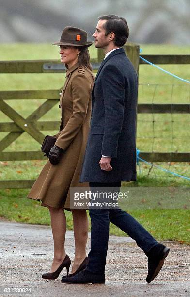 Pippa Middleton and James Matthews attend the Sunday service at St Mary Magdalene Church Sandringham on January 8 2017 in King's Lynn England