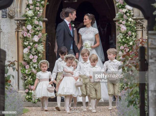 Pippa Middleton and James Matthews leave St Mark's Church following their wedding on May 20 2017 in Englefield England
