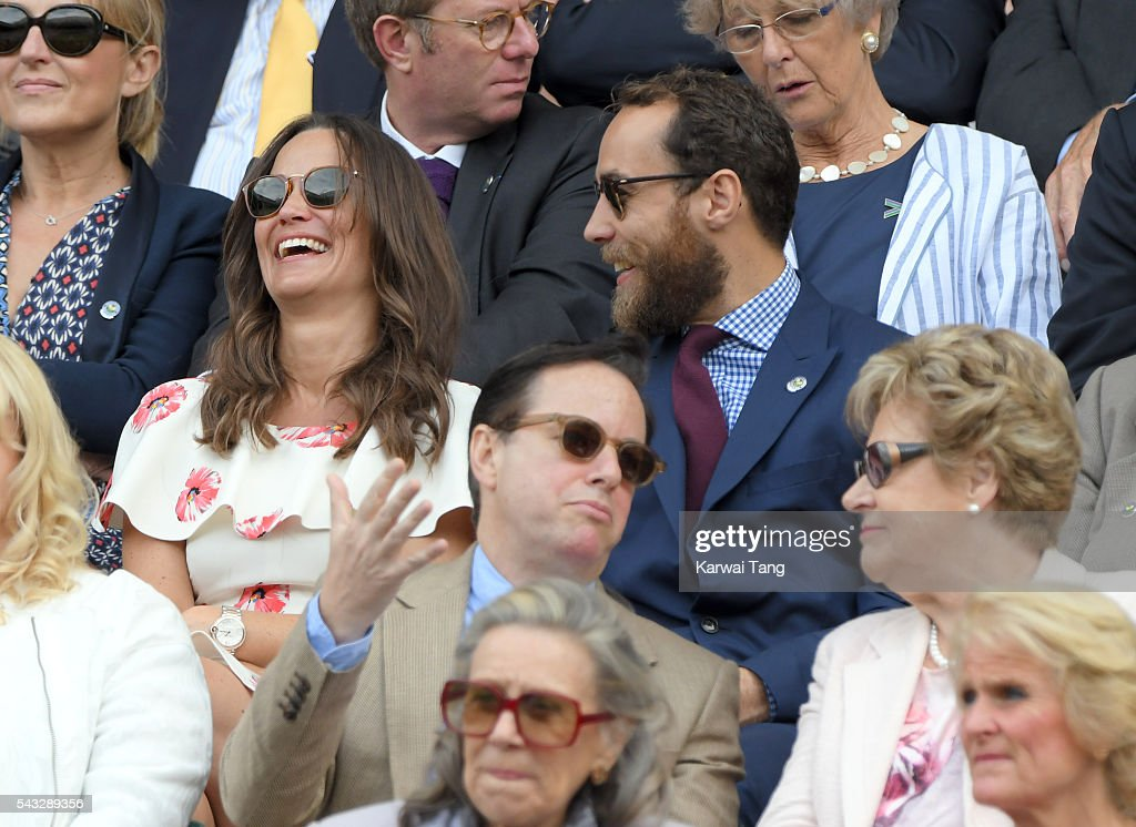 <a gi-track='captionPersonalityLinkClicked' href=/galleries/search?phrase=Pippa+Middleton&family=editorial&specificpeople=4289296 ng-click='$event.stopPropagation()'>Pippa Middleton</a> and James Middleton attend day one of the Wimbledon Tennis Championships at Wimbledon on June 27, 2016 in London, England.