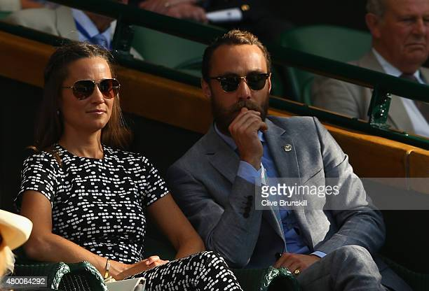 Pippa Middleton and James Middleton attend day ten of the Wimbledon Lawn Tennis Championships at the All England Lawn Tennis and Croquet Club on July...