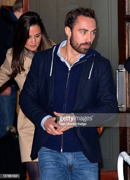 Pippa Middleton and James Middleton leave the King Edward VII Hospital after visiting their pregnant sister Catherine Duchess of Cambridge who is...