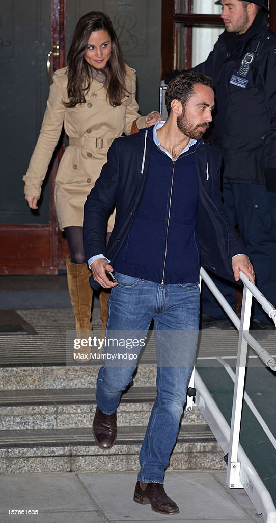<a gi-track='captionPersonalityLinkClicked' href=/galleries/search?phrase=Pippa+Middleton&family=editorial&specificpeople=4289296 ng-click='$event.stopPropagation()'>Pippa Middleton</a> and James Middleton leave the King Edward VII Hospital after visiting their pregnant sister Catherine, Duchess of Cambridge who is being treated for acute morning sickness on December 05, 2012 in London, England.