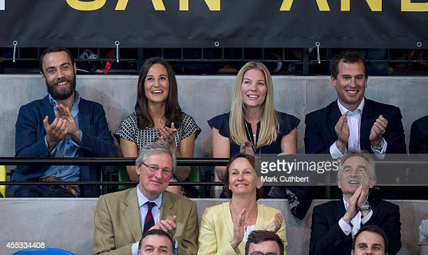 Pippa Middleton and James Middleton with Peter Phillips and Autumn Phillips watch an exhibition Wheelchair Rugby match during The Invictus Games on...