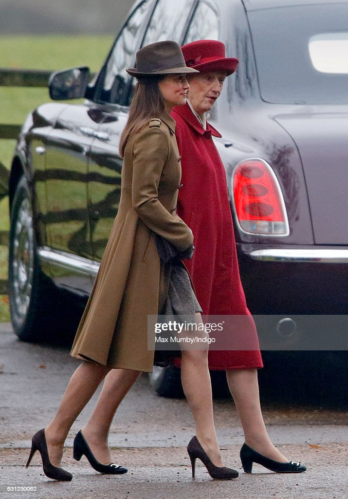 Pippa Middleton and Lady Susan Hussey (Lady in Waiting to Queen Elizabeth II) attend the Sunday service at St Mary Magdalene Church, Sandringham on January 8, 2017 in King's Lynn, England.