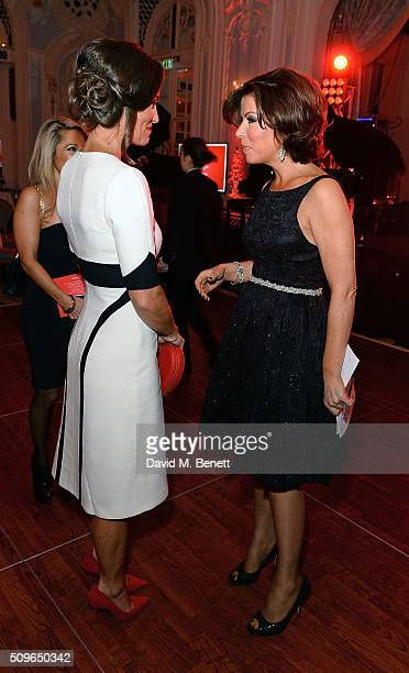Pippa Middleton and Natasha Kaplinsky attend a drinks reception during the British Heart Foundation Roll Out The Red Ball at The Savoy Hotel on...