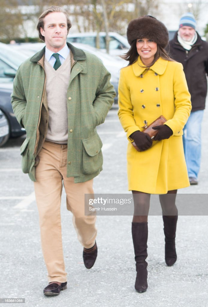 <a gi-track='captionPersonalityLinkClicked' href=/galleries/search?phrase=Pippa+Middleton&family=editorial&specificpeople=4289296 ng-click='$event.stopPropagation()'>Pippa Middleton</a> and Tom Kingston (L) attend Cheltenham Festival Day 3 at Cheltenham racecourse on March 14, 2013 in London, England.