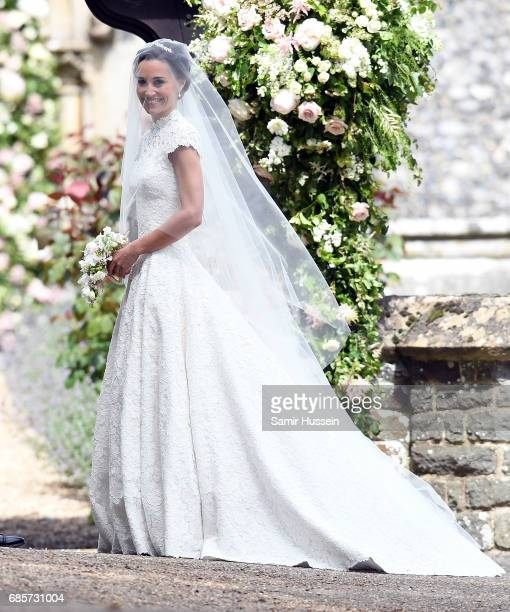 Pippa Middleton arrives at the wedding of Pippa Middleton and James Matthews at St Mark's Church on May 20 2017 in Englefield Green England