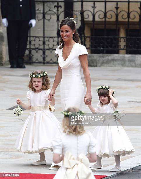 Pippa Middleton arrives to attend the Royal Wedding of Prince William to Catherine Middleton at Westminster Abbey on April 29 2011 in London England...
