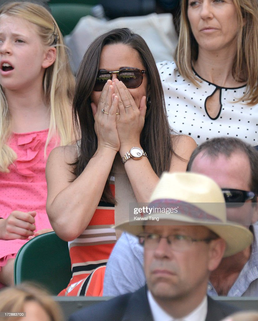 <a gi-track='captionPersonalityLinkClicked' href=/galleries/search?phrase=Pippa+Middleton&family=editorial&specificpeople=4289296 ng-click='$event.stopPropagation()'>Pippa Middleton</a> attends Day 11 of the Wimbledon Lawn Tennis Championships at the All England Lawn Tennis and Croquet Club on July 5, 2013 in London, England.