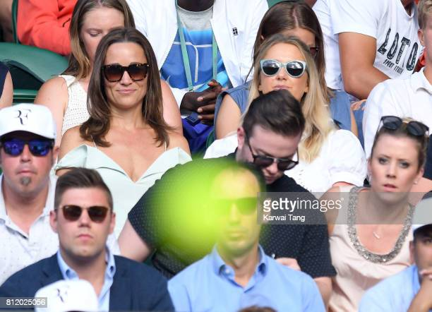 Pippa Middleton attends day seven of the Wimbledon Tennis Championships at the All England Lawn Tennis and Croquet Club on July 10 2017 in London...
