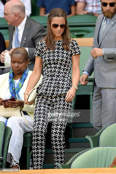 Pippa Middleton attends day ten of the Wimbledon Tennis Championships at Wimbledon on July 9 2015 in London England