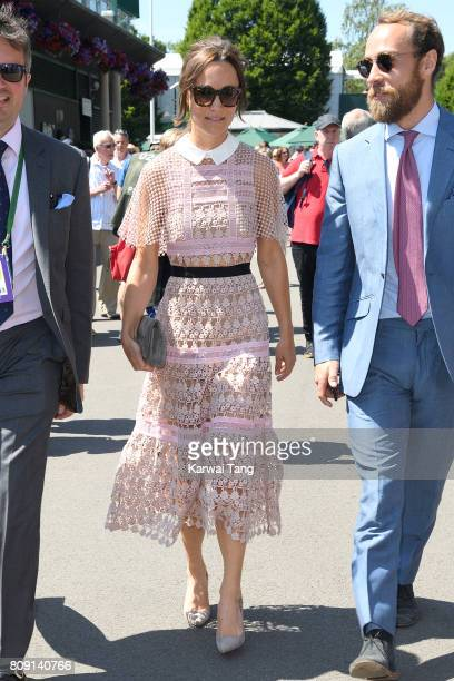 Pippa Middleton attends day three of the Wimbledon Tennis Championships at the All England Lawn Tennis and Croquet Club on July 5 2017 in London...