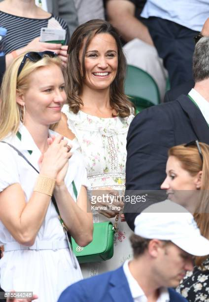 Pippa Middleton attends the Mens Singles Final during day thirteen of the Wimbledon Tennis Championships at the All England Lawn Tennis and Croquet...