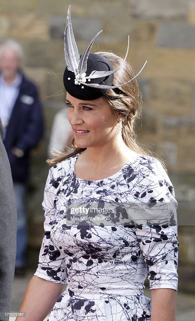 Pippa Middleton attends the wedding of Lady Melissa Percy and Thomas Van Straubenzee at St Michael's Church on June 22, 2013 in Alnwick, England.