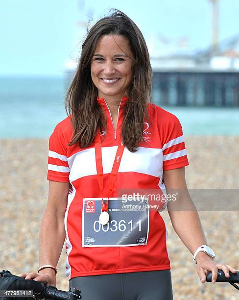 Pippa Middleton Finishes the London To Brighton Bike Ride For British Heart Foundation on June 21 2015 in Brighton England