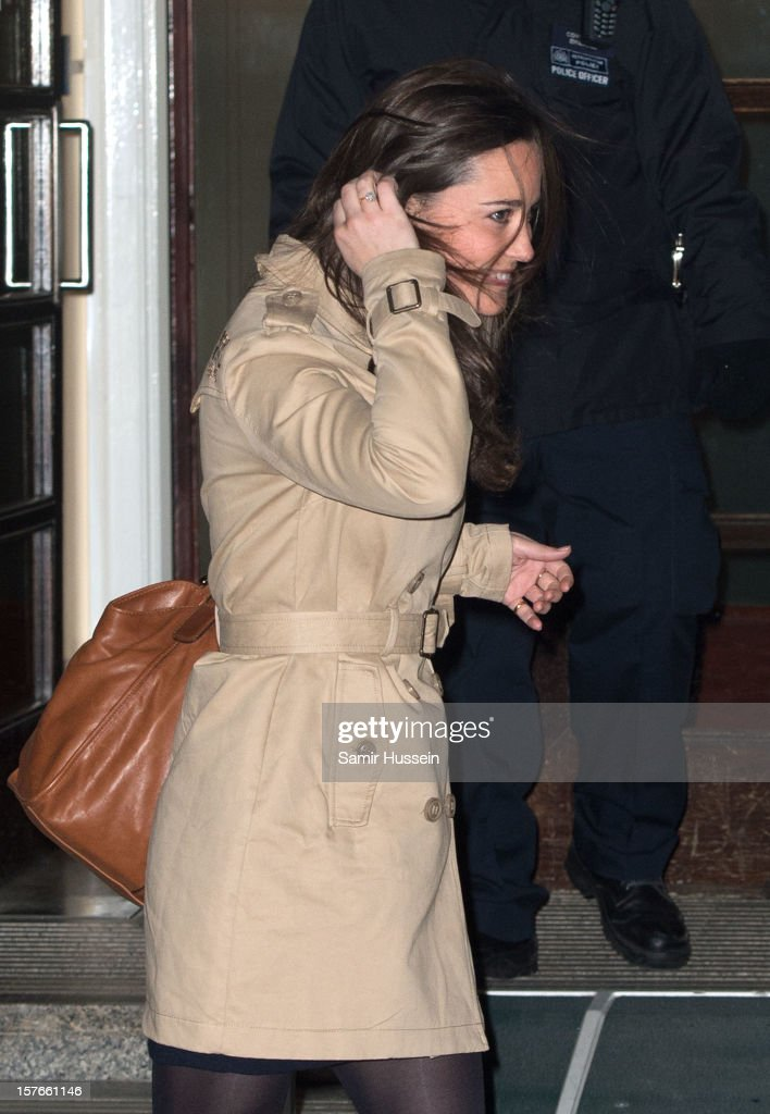 Pippa Middleton leaves the King Edward VII Hospital after visiting <a gi-track='captionPersonalityLinkClicked' href=/galleries/search?phrase=Catherine+-+Duquesa+de+Cambridge&family=editorial&specificpeople=542588 ng-click='$event.stopPropagation()'>Catherine</a>, Duchess of Cambridge who is being treated for acute morning sickness on December 05, 2012 in London, England.