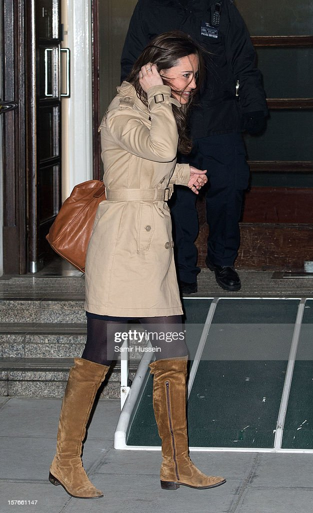 Pippa Middleton leaves the King Edward VII Hospital after visiting <a gi-track='captionPersonalityLinkClicked' href=/galleries/search?phrase=Catherine+-+Duchess+of+Cambridge&family=editorial&specificpeople=542588 ng-click='$event.stopPropagation()'>Catherine</a>, Duchess of Cambridge who is being treated for acute morning sickness on December 05, 2012 in London, England.