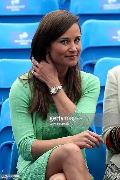 Pippa Middleton looks on during the Men's Singles second round match between Andy Murray of Great Britain and Nicolas Mahut of France on day four of...