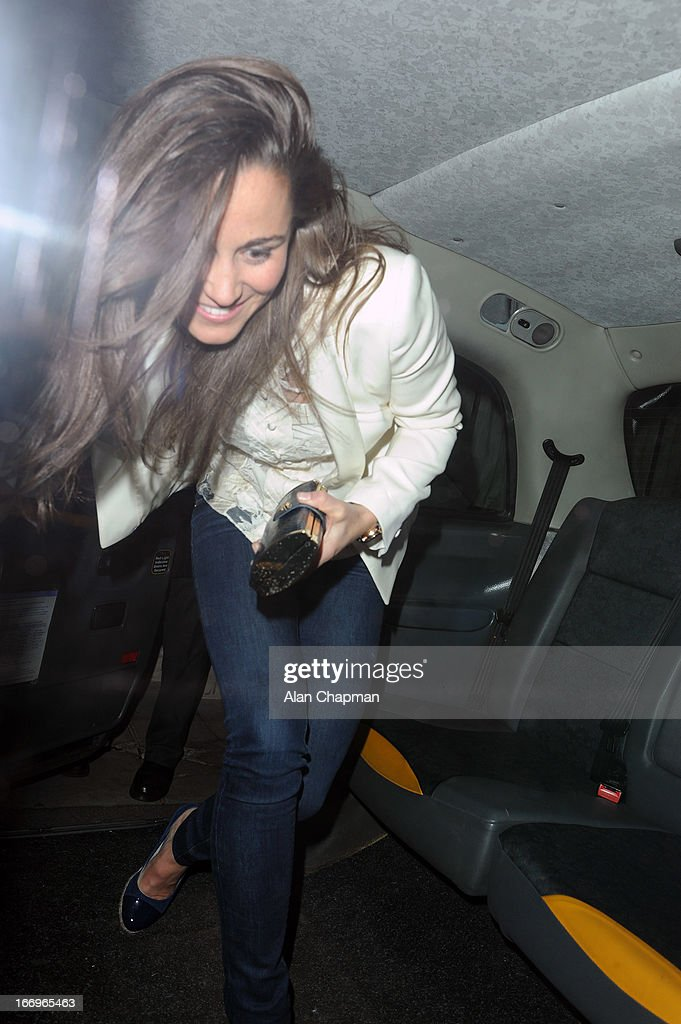 Pippa Middleton seen leaving Loulou's Mayfair on April 18, 2013 in London, England.
