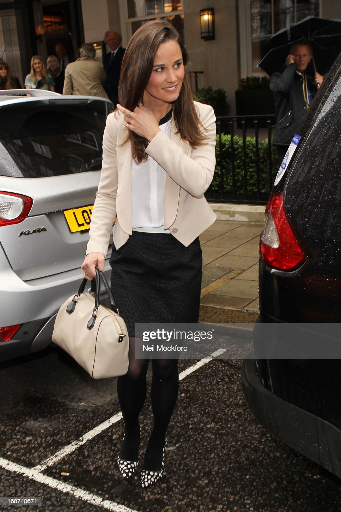 Pippa Middleton seen leaving The Vanity Fair lunch party at 34 Grosvenor Square on May 14, 2013 in London, England.
