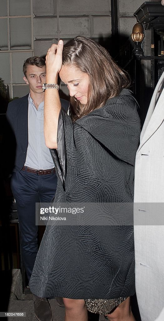 <a gi-track='captionPersonalityLinkClicked' href=/galleries/search?phrase=Pippa+Middleton&family=editorial&specificpeople=4289296 ng-click='$event.stopPropagation()'>Pippa Middleton</a> sighted leaving Annabells, Mayfair on September 27, 2013 in London, England.
