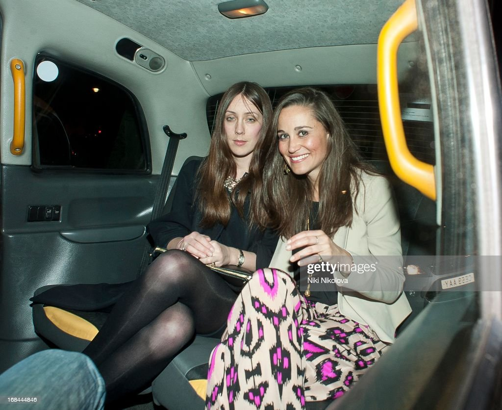 <a gi-track='captionPersonalityLinkClicked' href=/galleries/search?phrase=Pippa+Middleton&family=editorial&specificpeople=4289296 ng-click='$event.stopPropagation()'>Pippa Middleton</a> (R) sighting leaving Lulu Restaurant, Mayfair on May 9, 2013 in London, England.