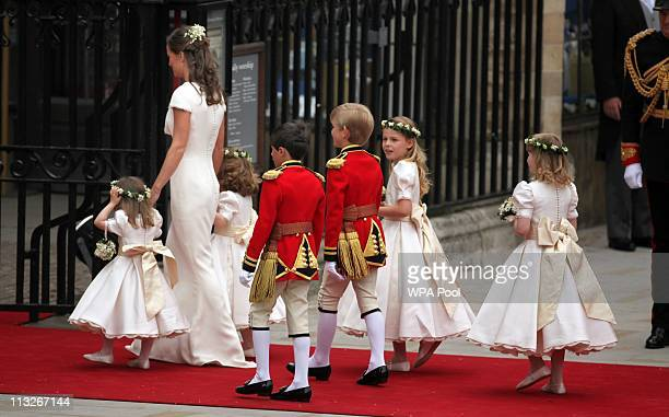 Pippa Middleton sister of the bride arrives with the bridesmaids and page boys at Westmister Abbey on April 29 2011 in London England The marriage of...