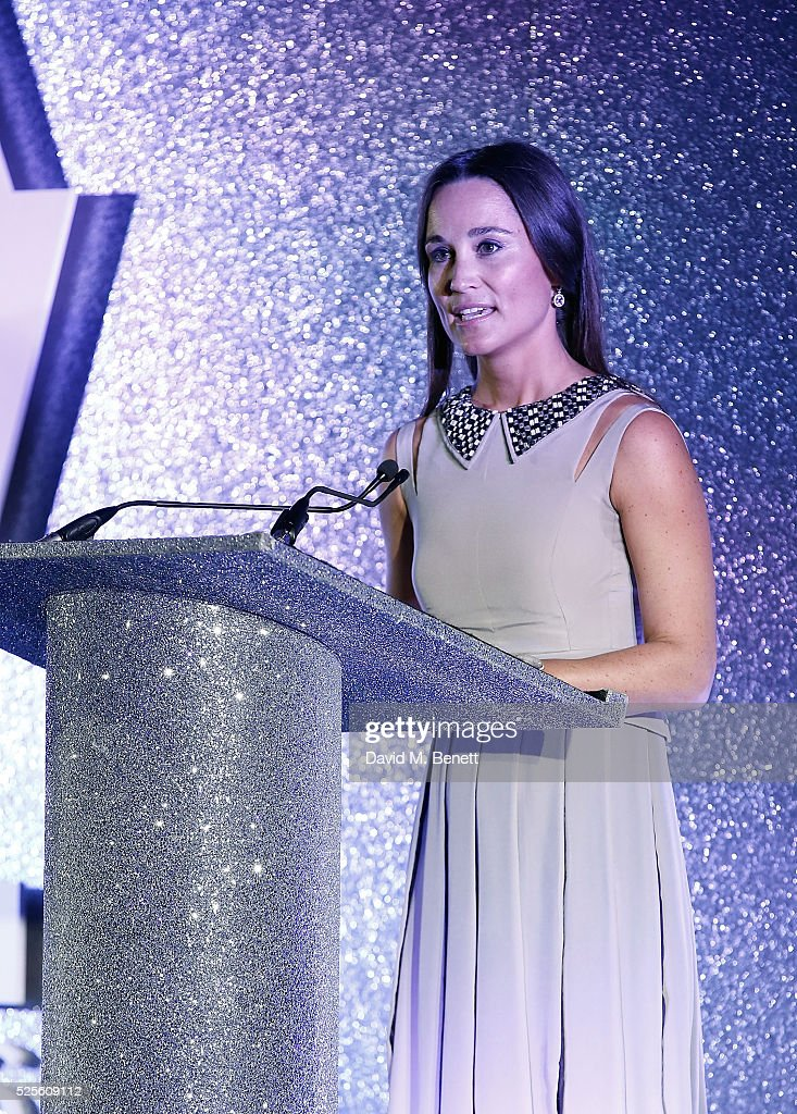 Pippa Middleton speaks on stage at the ParaSnowBall 2016 Disability Snowsport UK sponsored by Crystal Ski Holidays and Salomon, at The Hurlingham Club on April 28, 2016 in London, England.