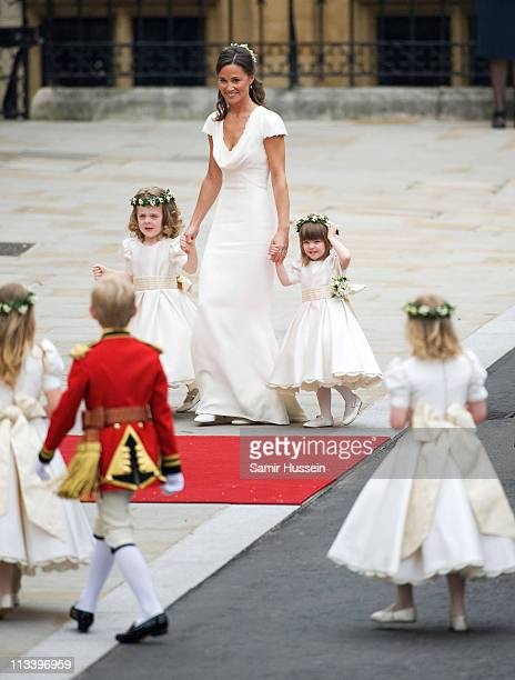 Pippa Middleton with Grace van Cutsem and Eliza Lopes arrive for the marriage of Their Royal Highnesses Prince William Duke of Cambridge and...