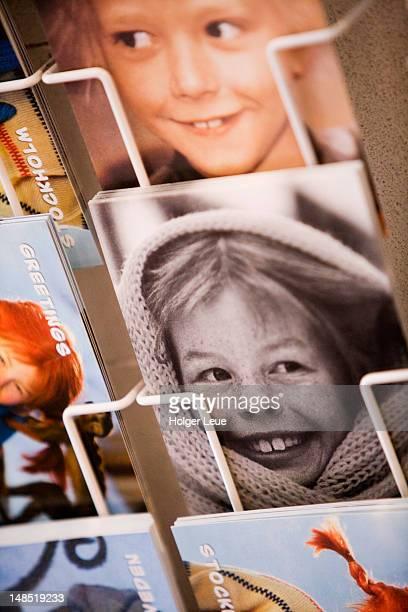 Pippi Longstocking postcards in rack, Gamla Stan Old Town.