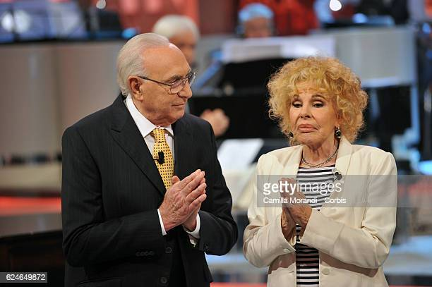 Pippo Baudo and Ornella Vanoni attend 'Domenica In' tv show on November 20 2016 in Rome Italy