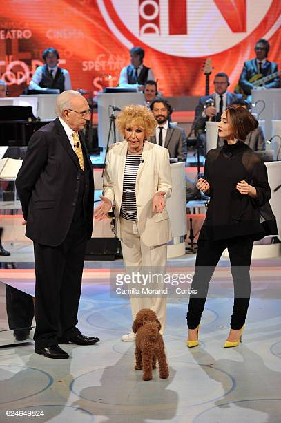 Pippo Baudo Ornella Vanoni and Chiara Francini attend 'Domenica In' tv show on November 20 2016 in Rome Italy