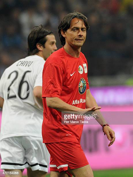 Pippo Inzaghi of Expo team in action during the Zanetti and friends Match for Expo at Stadio Giuseppe Meazza on May 4 2015 in Milan Italy