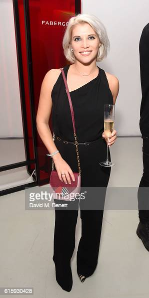 Pips Taylor attends an exclusive preview of the Faberge 'Say Yes In Colour' collection at Rook Raven Gallery on October 20 2016 in London England