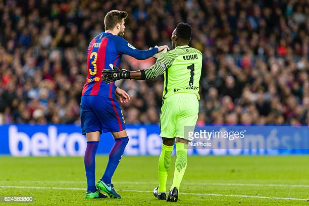 Pique and Carlos Kameni during the match between FC Barcelona vs Malaga CF for the round 12 of the Liga Santander played at Camp Nou Stadium on 19th...