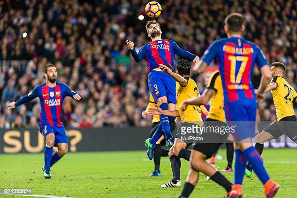 Pique during the match between FC Barcelona vs Malaga CF for the round 12 of the Liga Santander played at Camp Nou Stadium on 19th November 2016 in...