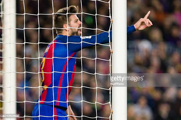Pique protest during the match between FC Barcelona vs Malaga CF for the round 12 of the Liga Santander played at Camp Nou Stadium on 19th November...