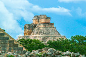 """Piramide of Uxmal, Mexico. Uxmal is a Mayan ruin site in Yucatán, Mexico, 80 kilometers south of Mérida. Probably means the name Uxmal (pronounced Usjmaal) """"thrice built"""", but that is not certain."""