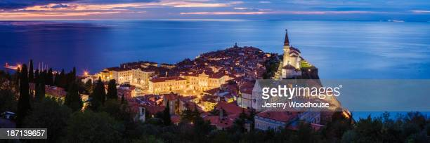 Piran city skyline illuminated at night, Piran, Slovenia