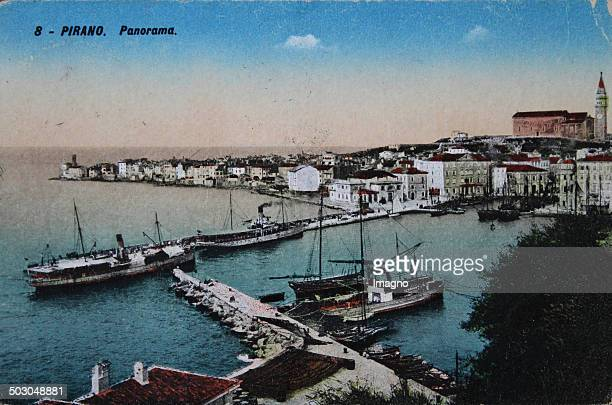 Piran in Slovenia Panorama Coloured picture postcard About 1920 Photograph