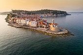 Piran on Slovenian adriatic coast in morning sun