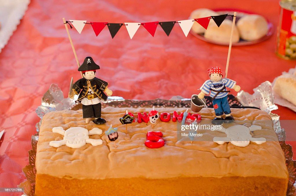 Pirate birthday cake : Stock Photo