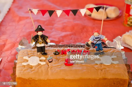 Pirate birthday cake : Stock Photo
