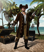 concept of a high seas pirate captain holding a scimitar sword and a flintlock pistol defending his treasure island, 3d render illustration