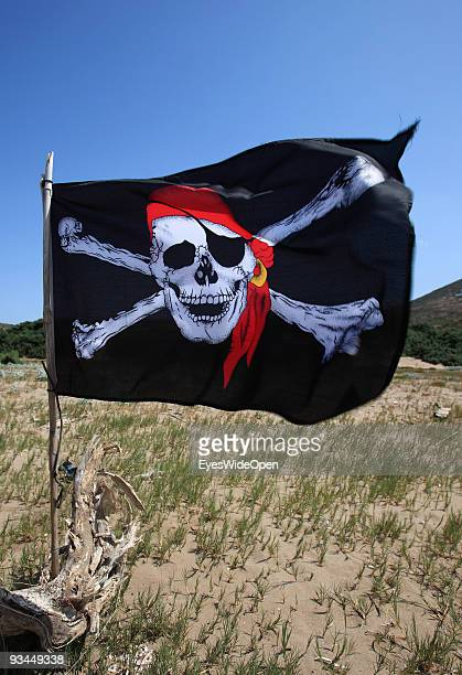 Pirate flag on the beach on July 16 2009 in Rhodes Greece Rhodes is the largest of the Greek Dodecanes Islands