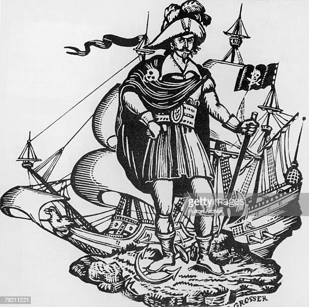 A pirate from Jamaica in the Caribbean circa 1650 Engraving by Grosser