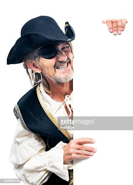 Pirate holding sign